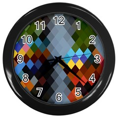 Diamond Abstract Background Background Of Diamonds In Colors Of Orange Yellow Green Blue And More Wall Clocks (black)