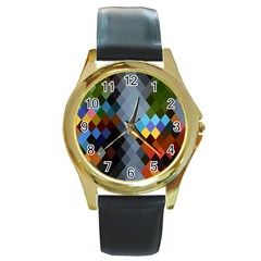 Diamond Abstract Background Background Of Diamonds In Colors Of Orange Yellow Green Blue And More Round Gold Metal Watch