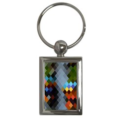 Diamond Abstract Background Background Of Diamonds In Colors Of Orange Yellow Green Blue And More Key Chains (Rectangle)