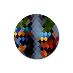 Diamond Abstract Background Background Of Diamonds In Colors Of Orange Yellow Green Blue And More Rubber Coaster (Round)