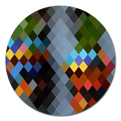 Diamond Abstract Background Background Of Diamonds In Colors Of Orange Yellow Green Blue And More Magnet 5  (round)