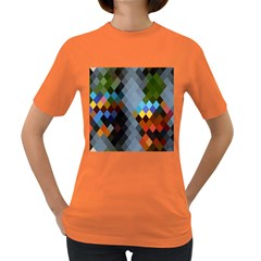 Diamond Abstract Background Background Of Diamonds In Colors Of Orange Yellow Green Blue And More Women s Dark T-Shirt