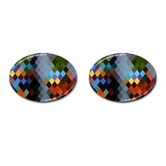 Diamond Abstract Background Background Of Diamonds In Colors Of Orange Yellow Green Blue And More Cufflinks (Oval)