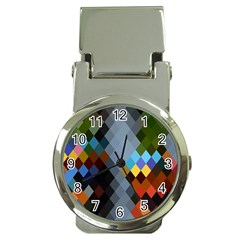 Diamond Abstract Background Background Of Diamonds In Colors Of Orange Yellow Green Blue And More Money Clip Watches