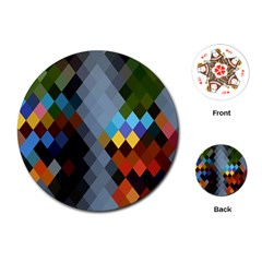 Diamond Abstract Background Background Of Diamonds In Colors Of Orange Yellow Green Blue And More Playing Cards (round)