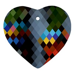 Diamond Abstract Background Background Of Diamonds In Colors Of Orange Yellow Green Blue And More Heart Ornament (two Sides)
