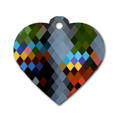 Diamond Abstract Background Background Of Diamonds In Colors Of Orange Yellow Green Blue And More Dog Tag Heart (two Sides)