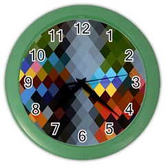 Diamond Abstract Background Background Of Diamonds In Colors Of Orange Yellow Green Blue And More Color Wall Clocks