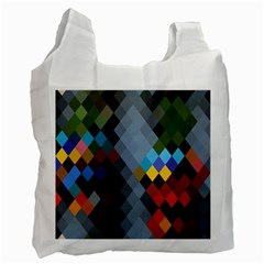Diamond Abstract Background Background Of Diamonds In Colors Of Orange Yellow Green Blue And More Recycle Bag (Two Side)