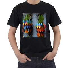 Diamond Abstract Background Background Of Diamonds In Colors Of Orange Yellow Green Blue And More Men s T-Shirt (Black)