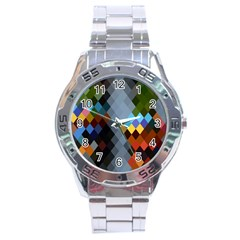 Diamond Abstract Background Background Of Diamonds In Colors Of Orange Yellow Green Blue And More Stainless Steel Analogue Watch
