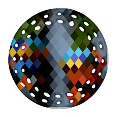 Diamond Abstract Background Background Of Diamonds In Colors Of Orange Yellow Green Blue And More Round Filigree Ornament (Two Sides)