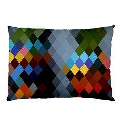 Diamond Abstract Background Background Of Diamonds In Colors Of Orange Yellow Green Blue And More Pillow Case (Two Sides)