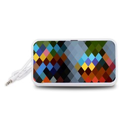 Diamond Abstract Background Background Of Diamonds In Colors Of Orange Yellow Green Blue And More Portable Speaker (white)