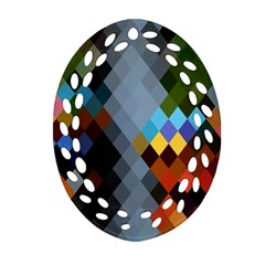 Diamond Abstract Background Background Of Diamonds In Colors Of Orange Yellow Green Blue And More Oval Filigree Ornament (two Sides)