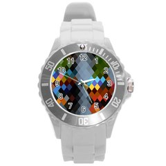 Diamond Abstract Background Background Of Diamonds In Colors Of Orange Yellow Green Blue And More Round Plastic Sport Watch (L)