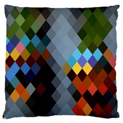 Diamond Abstract Background Background Of Diamonds In Colors Of Orange Yellow Green Blue And More Large Cushion Case (one Side)