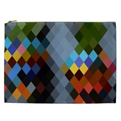 Diamond Abstract Background Background Of Diamonds In Colors Of Orange Yellow Green Blue And More Cosmetic Bag (XXL)