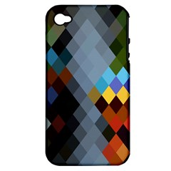 Diamond Abstract Background Background Of Diamonds In Colors Of Orange Yellow Green Blue And More Apple Iphone 4/4s Hardshell Case (pc+silicone)