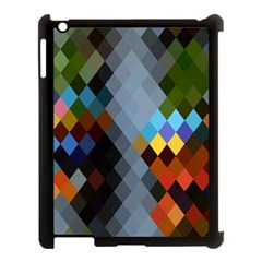 Diamond Abstract Background Background Of Diamonds In Colors Of Orange Yellow Green Blue And More Apple iPad 3/4 Case (Black)