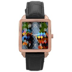 Diamond Abstract Background Background Of Diamonds In Colors Of Orange Yellow Green Blue And More Rose Gold Leather Watch