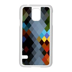 Diamond Abstract Background Background Of Diamonds In Colors Of Orange Yellow Green Blue And More Samsung Galaxy S5 Case (white)