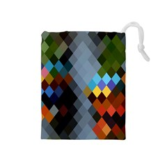 Diamond Abstract Background Background Of Diamonds In Colors Of Orange Yellow Green Blue And More Drawstring Pouches (medium)