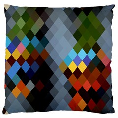 Diamond Abstract Background Background Of Diamonds In Colors Of Orange Yellow Green Blue And More Large Flano Cushion Case (one Side)