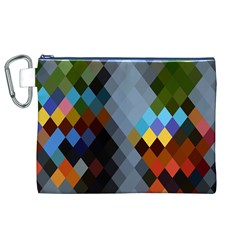 Diamond Abstract Background Background Of Diamonds In Colors Of Orange Yellow Green Blue And More Canvas Cosmetic Bag (xl)