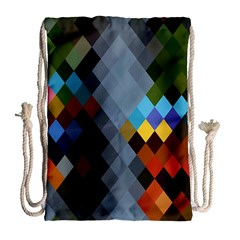 Diamond Abstract Background Background Of Diamonds In Colors Of Orange Yellow Green Blue And More Drawstring Bag (large)