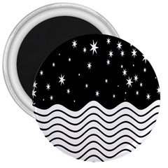 Black And White Waves And Stars Abstract Backdrop Clipart 3  Magnets