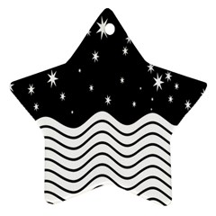 Black And White Waves And Stars Abstract Backdrop Clipart Ornament (star)
