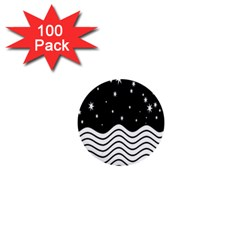 Black And White Waves And Stars Abstract Backdrop Clipart 1  Mini Buttons (100 Pack)