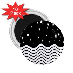Black And White Waves And Stars Abstract Backdrop Clipart 2.25  Magnets (10 pack)
