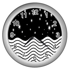 Black And White Waves And Stars Abstract Backdrop Clipart Wall Clocks (Silver)