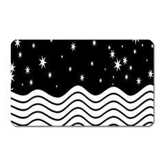 Black And White Waves And Stars Abstract Backdrop Clipart Magnet (Rectangular)
