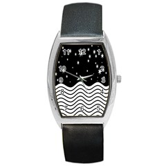 Black And White Waves And Stars Abstract Backdrop Clipart Barrel Style Metal Watch