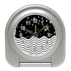 Black And White Waves And Stars Abstract Backdrop Clipart Travel Alarm Clocks