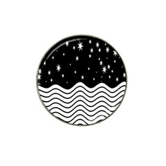 Black And White Waves And Stars Abstract Backdrop Clipart Hat Clip Ball Marker (4 pack)