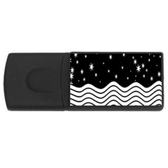 Black And White Waves And Stars Abstract Backdrop Clipart USB Flash Drive Rectangular (4 GB)