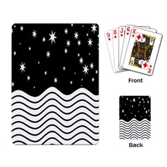 Black And White Waves And Stars Abstract Backdrop Clipart Playing Card