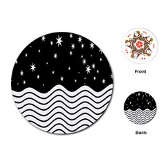 Black And White Waves And Stars Abstract Backdrop Clipart Playing Cards (Round)