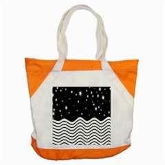 Black And White Waves And Stars Abstract Backdrop Clipart Accent Tote Bag