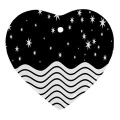 Black And White Waves And Stars Abstract Backdrop Clipart Heart Ornament (two Sides)