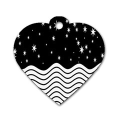 Black And White Waves And Stars Abstract Backdrop Clipart Dog Tag Heart (One Side)