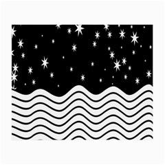 Black And White Waves And Stars Abstract Backdrop Clipart Small Glasses Cloth (2-Side)
