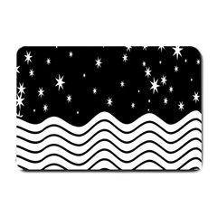 Black And White Waves And Stars Abstract Backdrop Clipart Small Doormat