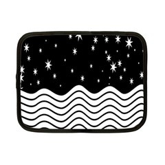 Black And White Waves And Stars Abstract Backdrop Clipart Netbook Case (small)