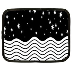 Black And White Waves And Stars Abstract Backdrop Clipart Netbook Case (large)