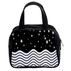 Black And White Waves And Stars Abstract Backdrop Clipart Classic Handbags (2 Sides)